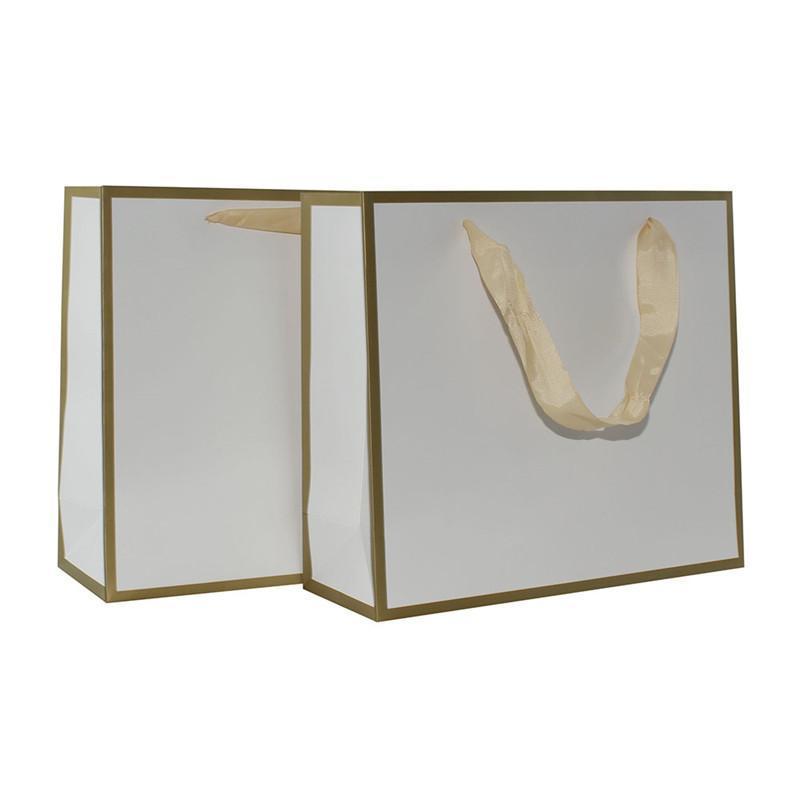 Commercio all'ingrosso 500pcs / lot di alta qualità Offset orologio oro logo e bordo carta regalo borse da regalo abbigliamento sacchetto di carta con manici