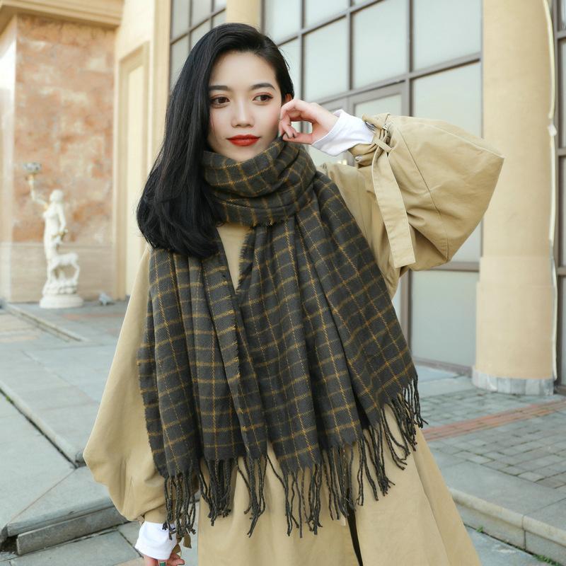 2020 Écharpe longue des femmes d'hiver, imitation Cachemme de couleur Plaid à carreaux, écharpe frangée épais chaude, tippet pour femmes, foulards