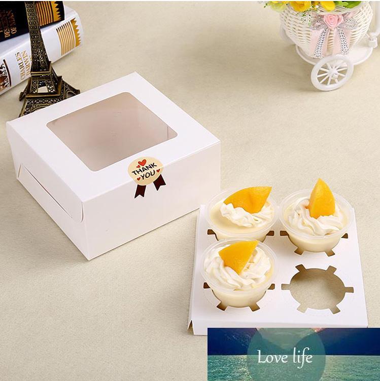 5PCS Kraft Paper Box gâteau fenêtre papier Emballage cadeau Mariage Marron Blanc Dessert Mousse Cupcake Boîte 12 Porte-Cup Cake