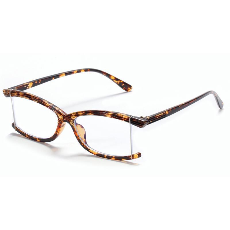 Veshion خمر بدون إطار نظارات المضادة أزرق فاتح نساء واضح عدسة ريترو ساحة نظارات للرجال نصف إطار شفاف براون
