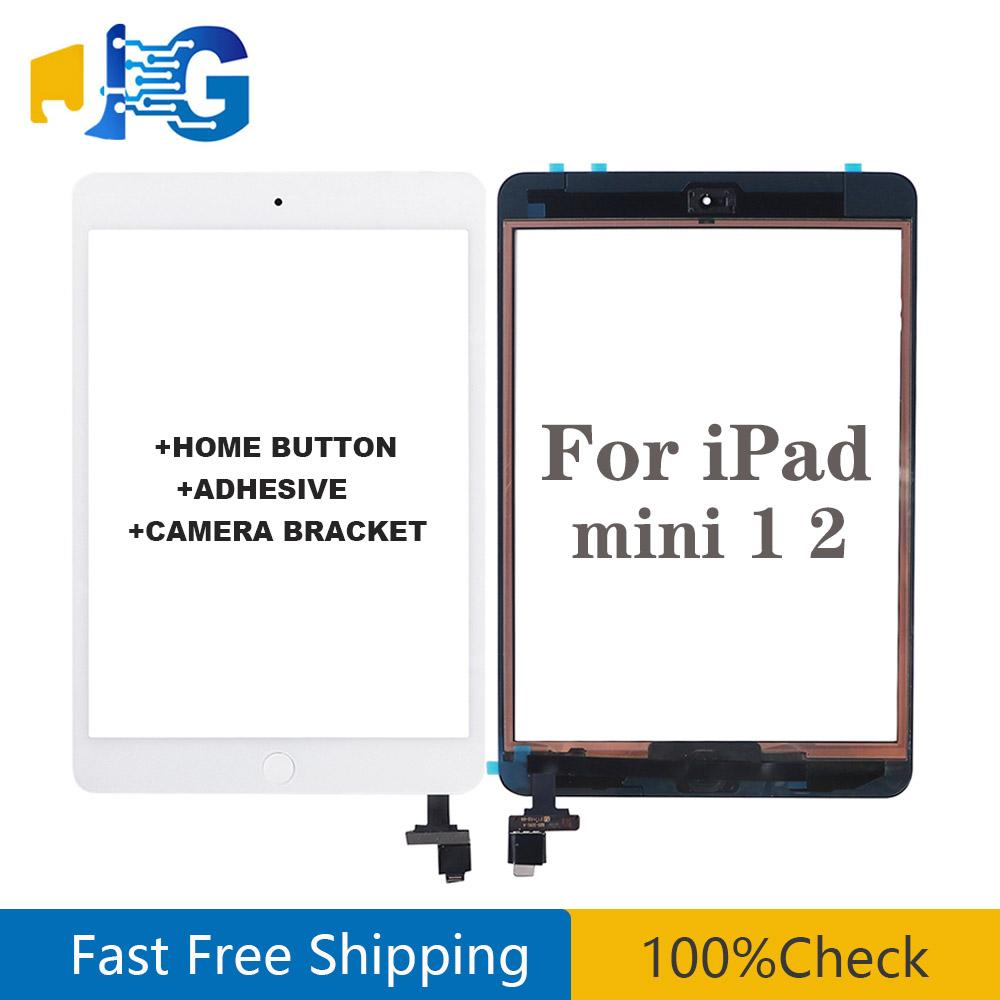 For iPad mini 1 mini 2 Touch Screen Panel Digitizer Glass Panel Lens Sensor Repair + IC +Home Button Flex with sticker free shipping