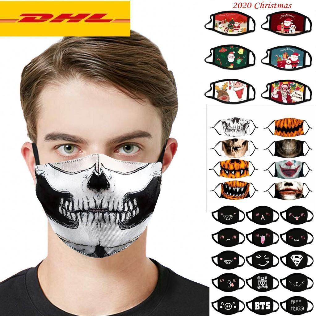 DHL Schiff 2020 Partei Weihnachten Halloween-Tuch-Gesichtsmaske PM2.5 Filter Cotton USA Damen Herren Kindermode Winter-waschbare Designer Lumious Mask