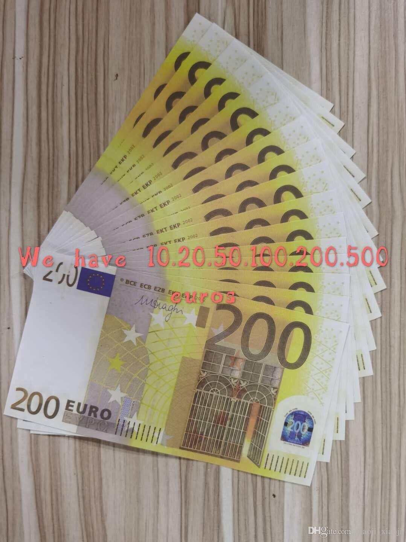 Note Banque Fake Pop Copy Copier Money Coverclub Collection de films réaliste 200EUROS Jeux d'affaires pour l'argent Most 25 xmgme