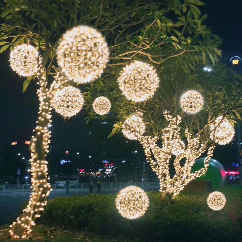 2021 son ağaç dış ışık, yılbaşı renkli Led top rattan lamba, lamba dekorasyon sokak asılı kare aydınlatma Yeni parkı