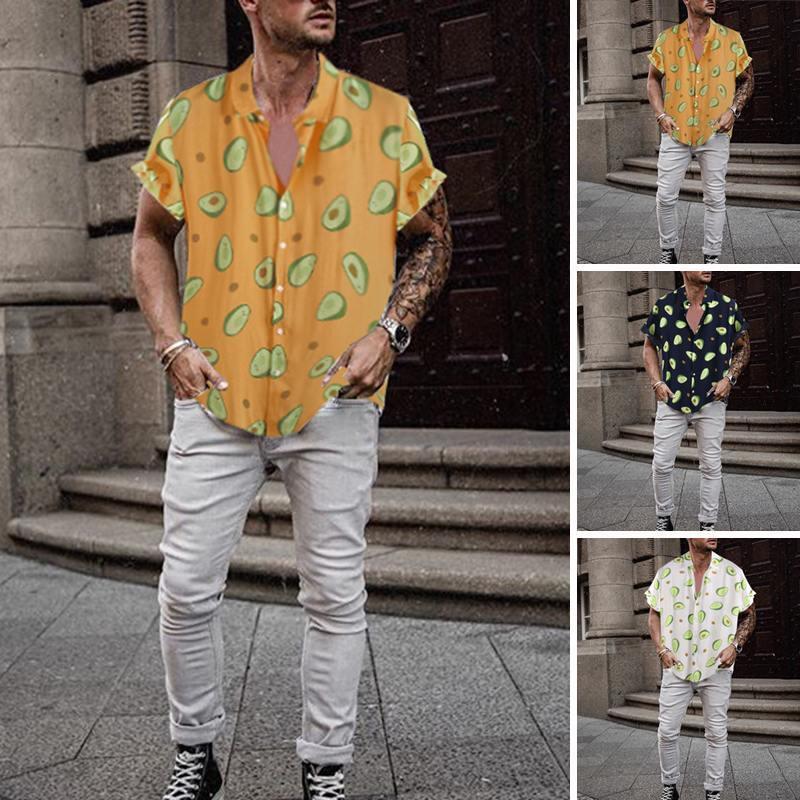 Incerun Новая мода летняя гавайская мужская рубашка авокадо печатает отворот 2019 уличная одежда вскользь праздник личности Camisa masculina7 x1218