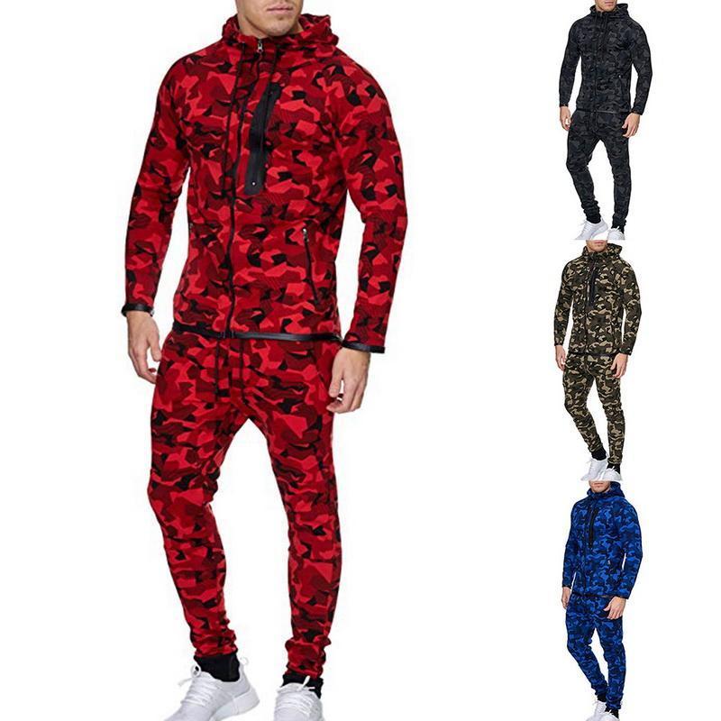 Mens due pezzi set Stampato Camouflage uomini insieme a due pezzi Felpa Maschio Camo Hoody degli uomini con cappuccio Felpe 2pcs
