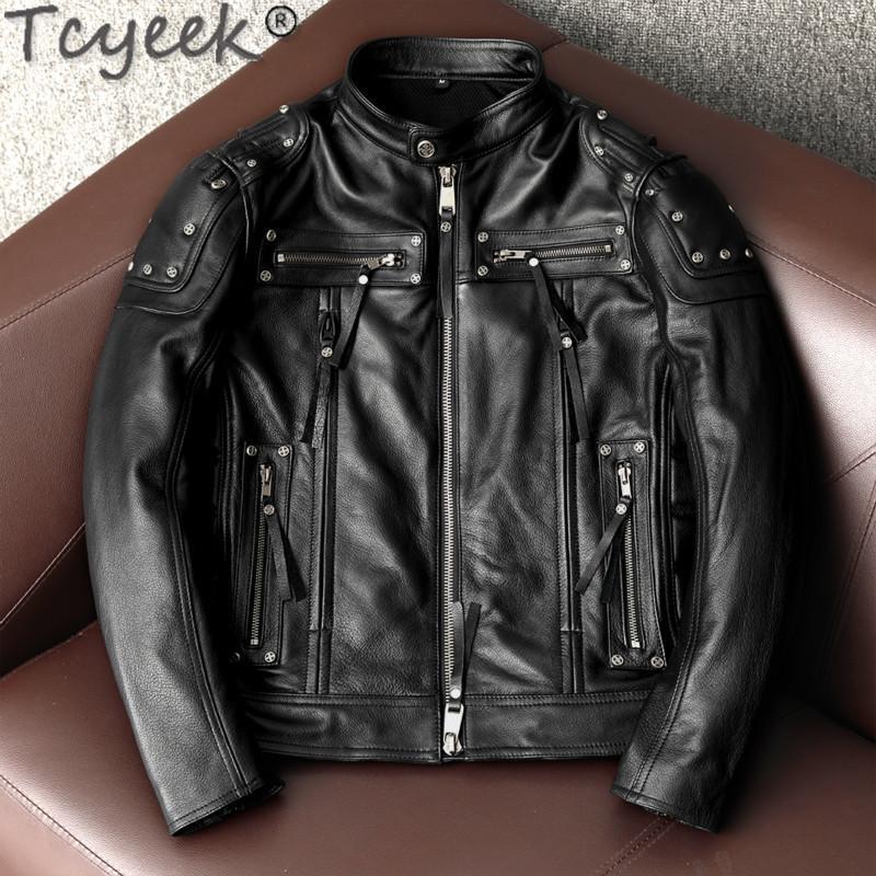 Tcyeek Plus Size 100% cuir vache réel Manteau Homme Veste motocyclette Rivet Streetwear naturel en cuir véritable homme Vestes LW