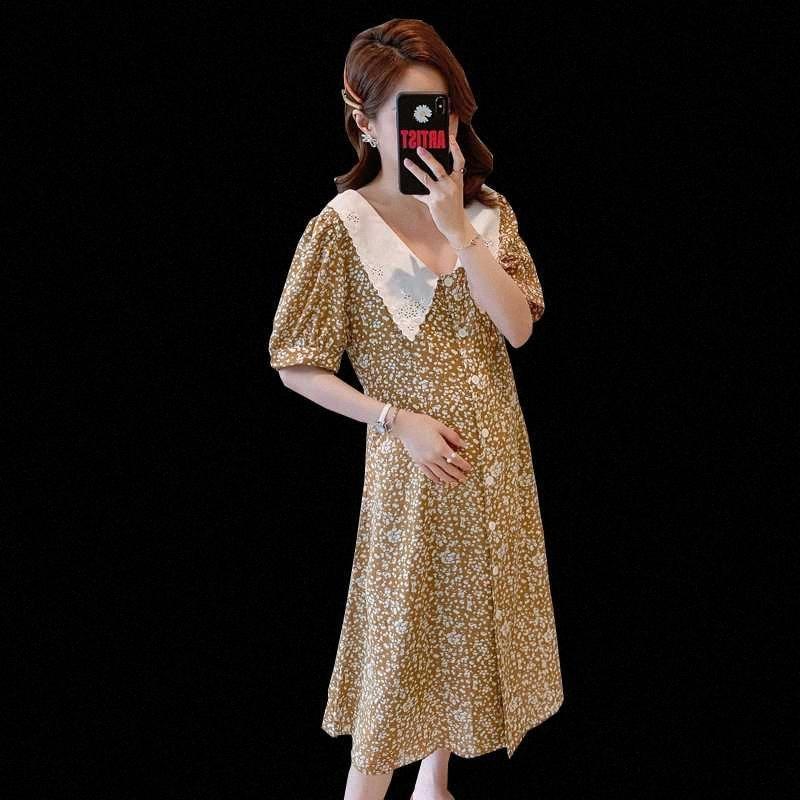 Schwangere Frauen-Chiffon- Kleid-Sommer-Kurzschluss-Hülsen Turn-Down-Kragen Einreiher Chiffon- mit Blumenkleid elegante Umstandsmode f8Ed #