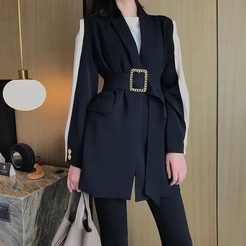 Винтаж Пояс Belted Женщина Blazer 2021 весна лето Outwear нагрудного длинный рукав Лоскутных черные Женский пиджак