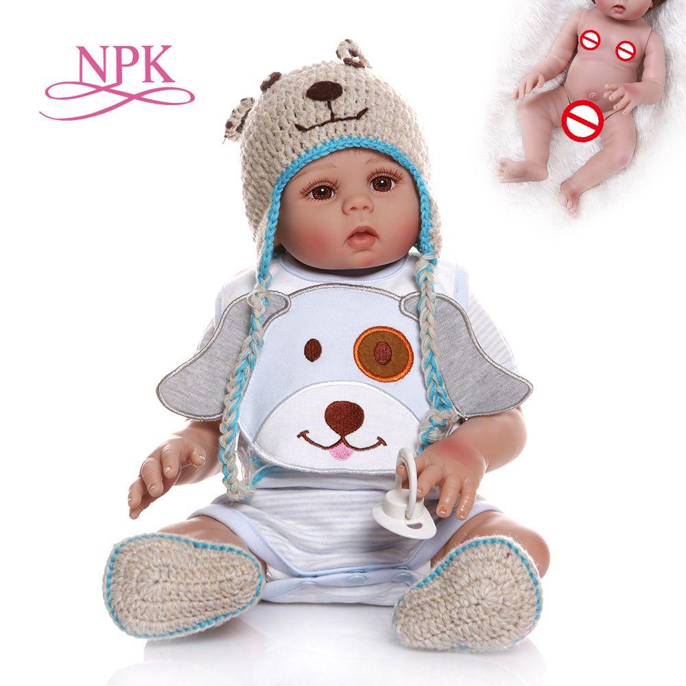 NPK 48CM bebe doll reborn baby boy doll in blue dress full body soft silicone realistic baby Bath toy Anatomically Correct 1011