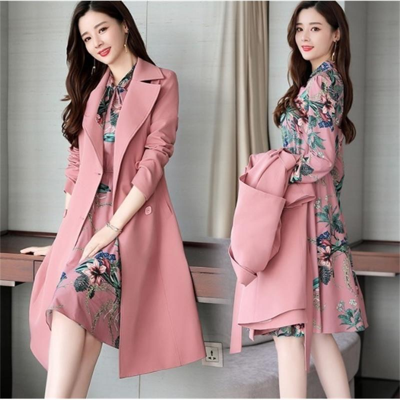 Spring Autumn Ladies Dress Suits for Office Wear Long Trench Coat and Knee Length Dress 2 Piece Set Women Formal Dresses Suit 201012