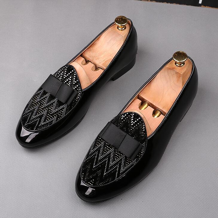 Sapatos de casamento do desenhador para homens laço preto com sapatos de strass plana Homem vestido de festa negócio baile Formal