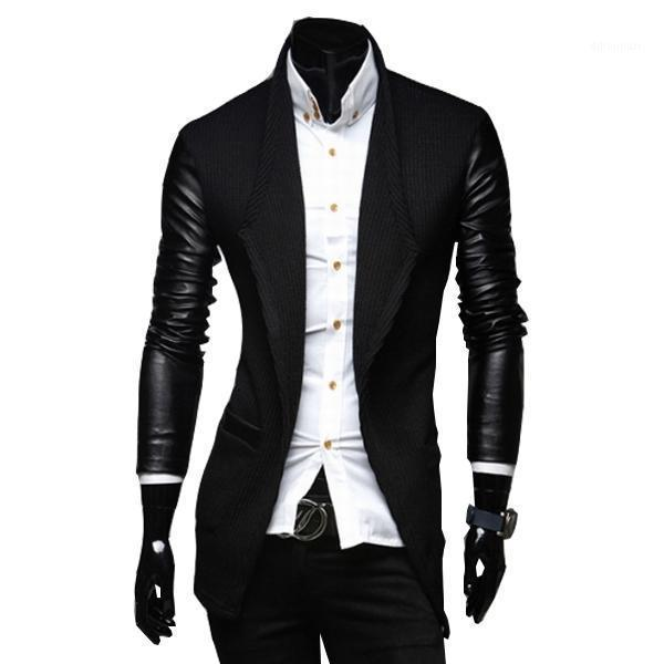2020 New Arrival Mens Long Trench Coat The Sleeves Is Leather Slim Fit Style Trench Coat Men Plus Size M-XXL1