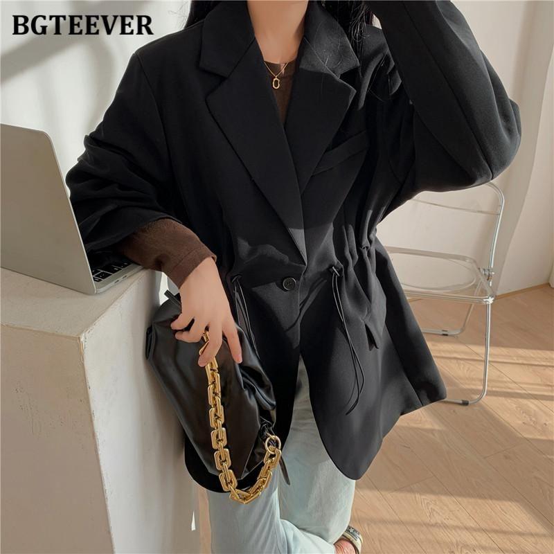 BGTEEVER elegante elegante femenino traje traje chaquetas elegante suelto solo botón mujeres blazer 2021 bolsillos de primavera Outwear Femme
