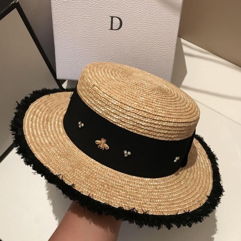Bayanlar Güneş Fedora Şapkalar Küçük Arı Hasır Şapka Avrupa ve Amerikan Retro Şapka Kadın Güneşlik Düz Cap Visors