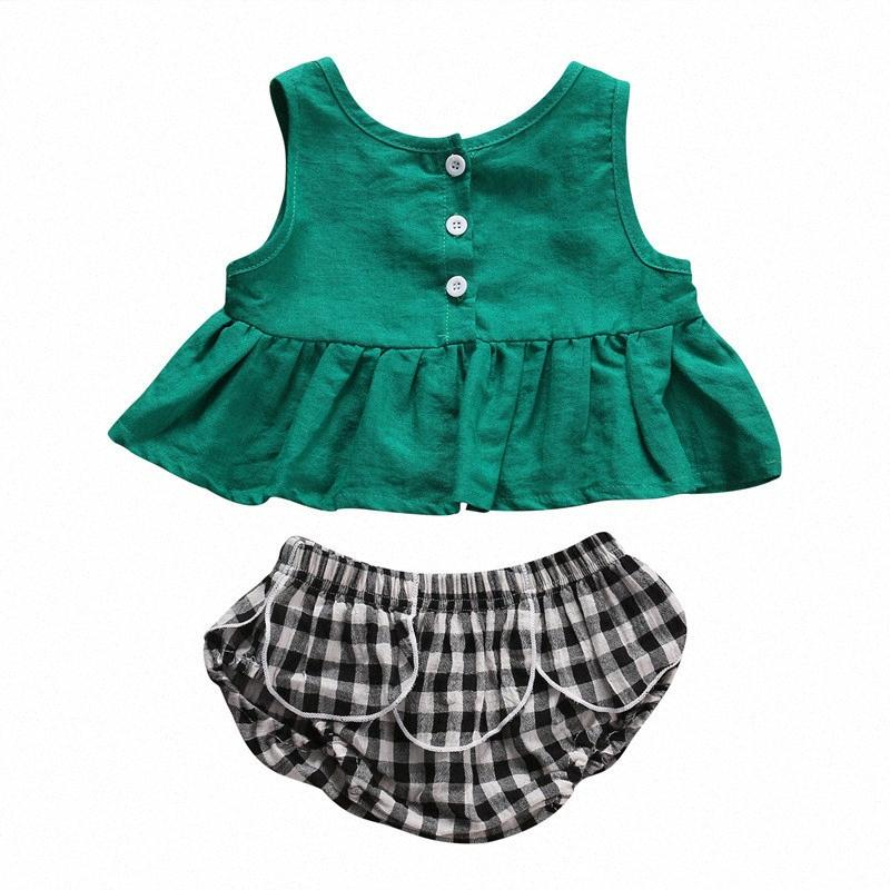 Toddler Kids Girls Vêtements Ensemble Été Vest sans manches Top T-shirt + Shorts à carreaux 2pcs Baby Girl Vêtements occasionnels Costume pour enfants 0-5Y I5EX #