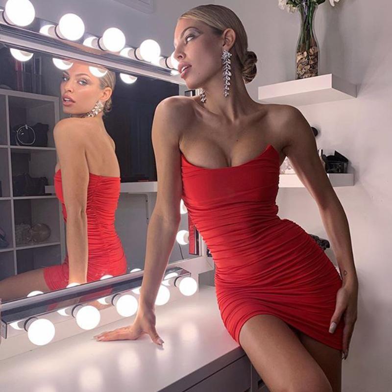 Adyce Sommer neue Frauen-rote Sleeveless Bodycon Verband-Kleid Vesitido Sexy trägerloser schwarzer Mini Club Promi Runway-Partei-Kleid
