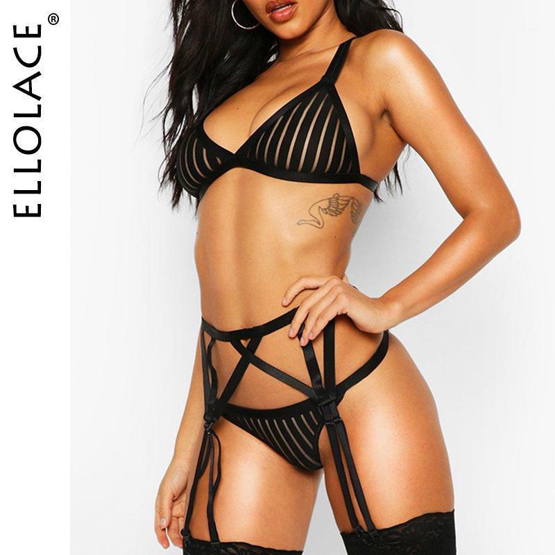 Conjuntos de Bras Ellolace Malha Lingerie Sexy Underwear Set Mulheres Bra Festa Lingeries Feminino 2021 Atacado1