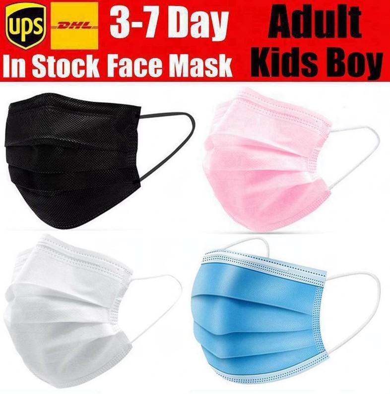 DHL / UPS одноразовые маски для лица розовый белый черный с эластичным ушной петлю 3 PLY дышащий пыль воздух анти-загрязнение маски детей детей взрослый