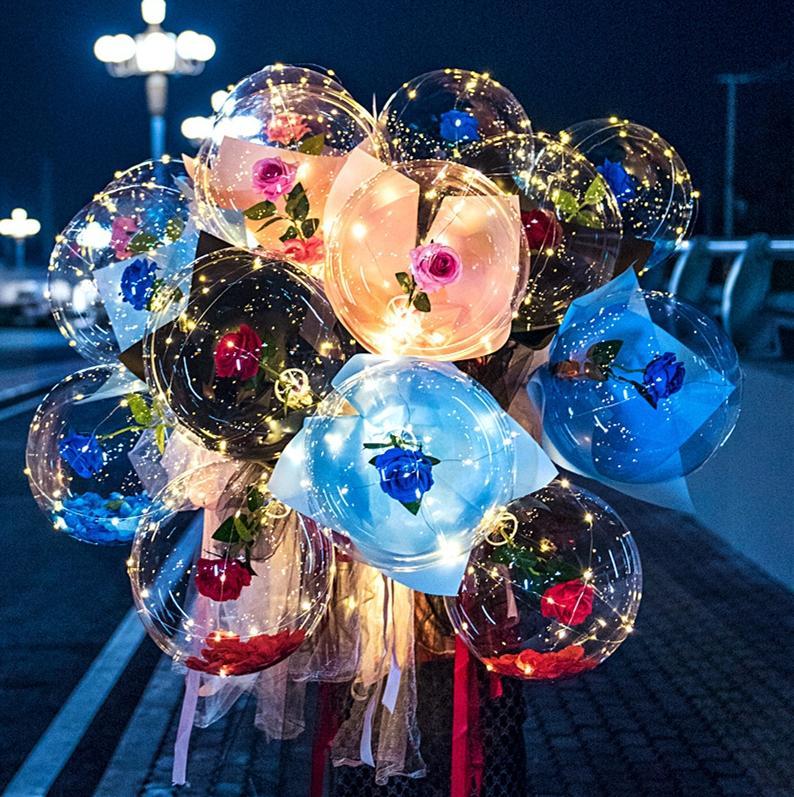LED Aydınlık Balon Gül Çiçek Şeffaf Kabarcık Büyülü Gül LED Bobo Topu 2021 Için Sevgililer Günü Hediye Parti Düğün Dekor E121801
