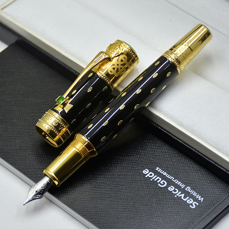 Top Luxury Elizabeth Pen Limited Edition Black Golden Silver Engrave Classics Fountain Pen Business Office Supplies with Diamond 0686/4810