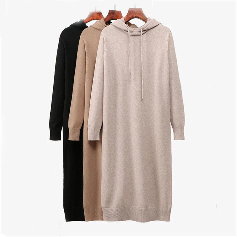 스웨터 드레스 여성 패션 가을 겨울 니트 풀오버 스웨터 긴 소매 점퍼 풀 팜므 200928