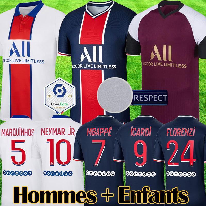 Maillots 2020 2021 MBAPPE soccer Jersey ICARD VERRATTI kids MARQUINHOS football Kits Football uniform maillot de foot equipment