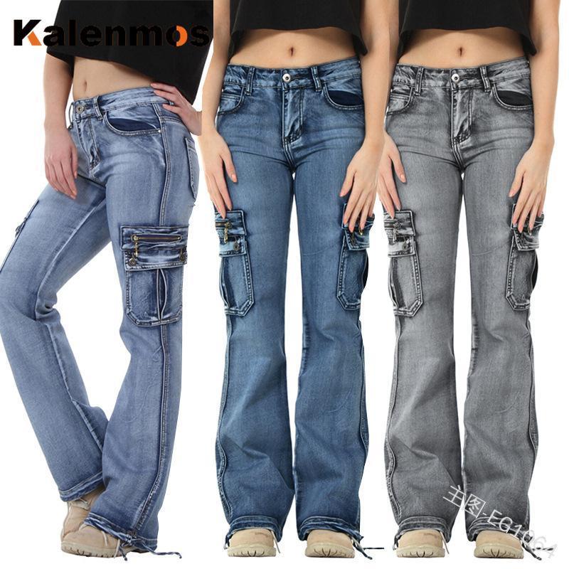 Jeans Mujeres Invierno Blanqueado Vintage Denim Casual Pantalones rectos Mamá Jeans Streetwear Primavera Otoño Mujeres Punk Gothic Goth