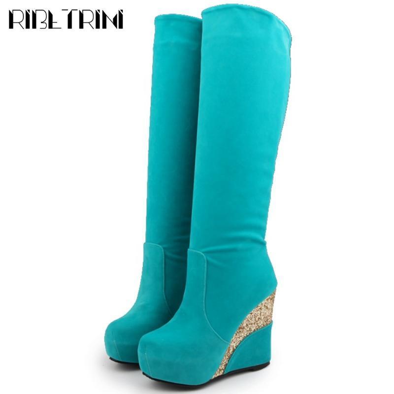 RIBETRINI New Chic Big Size 43 Platform Wedges Salto Alto Cozy para caminhadas Mantenha joelho quente bota alta de Inverno Sapatos Botas Mulheres