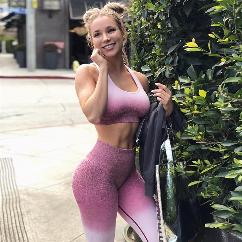 Женская йога набор тренажерный зал Одежда тренировки спортивный костюм женские фитнес комплекты активной одежды работает спортивная одежда сексуальные костюмы трексуита