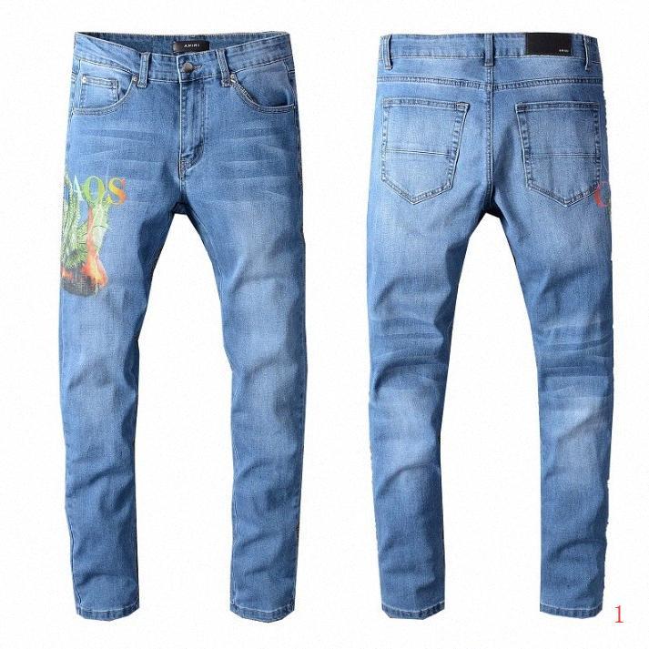 2020 2020 New Arrival Hommes d'été Jeans Mode Slim Imprimer stretch Straight Jeans Denim Zipper Fly Tendance Hommes Pantalons simple WF2004161 d6Vm #