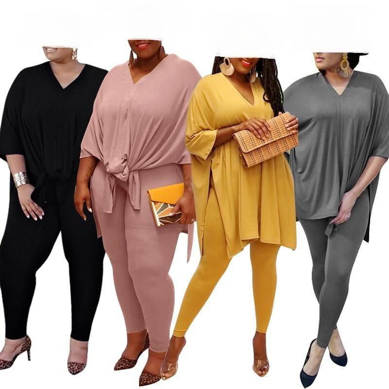 Le donne più il formato S-5XL Split lato lasco Tee Top Pantaloni vestito di usura attivo tuta in due pezzi Vestiti uguali Set fitness Casual