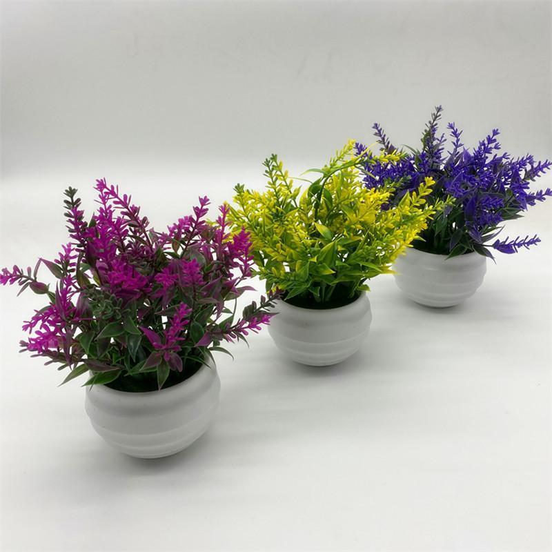 Decorazioni di simulazione artificiale della pianta dei bonsai fiore bianco in vaso del salone della casa fai da te Desktop festa di nozze
