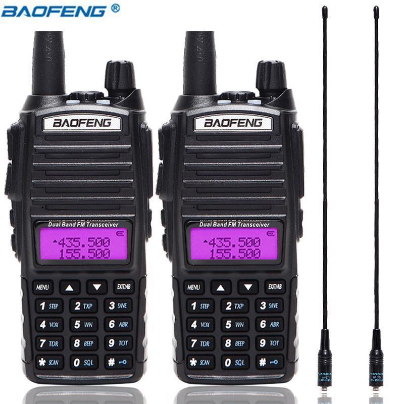 2Pcs / комплект Baofeng UV82 Портативный Walkie Talkie UV82 Dual Band 2 PUV 82 Двухсторонний Ham CB радиоприемопередатчиком + 2pcs NA-771 антенна