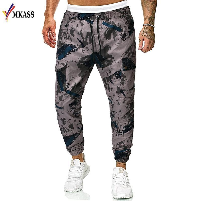 Pantalones de otoño europeo MKASS de los hombres de color del contraste del camuflaje Trajes de elástico de la cintura Casual polainas Harem Pantalones para hombres