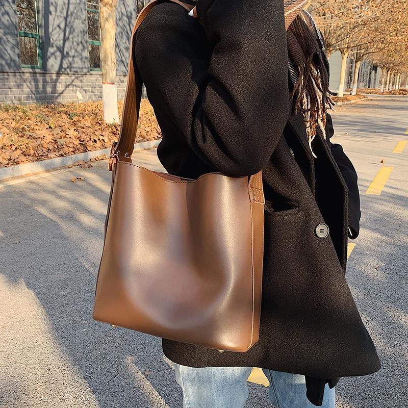 VeryMe PU Ladies Shoulder Messenger Bags Large Capacity Composite Bag Female Buckets Handbags Luxury Designer Bolsos Mujer Black