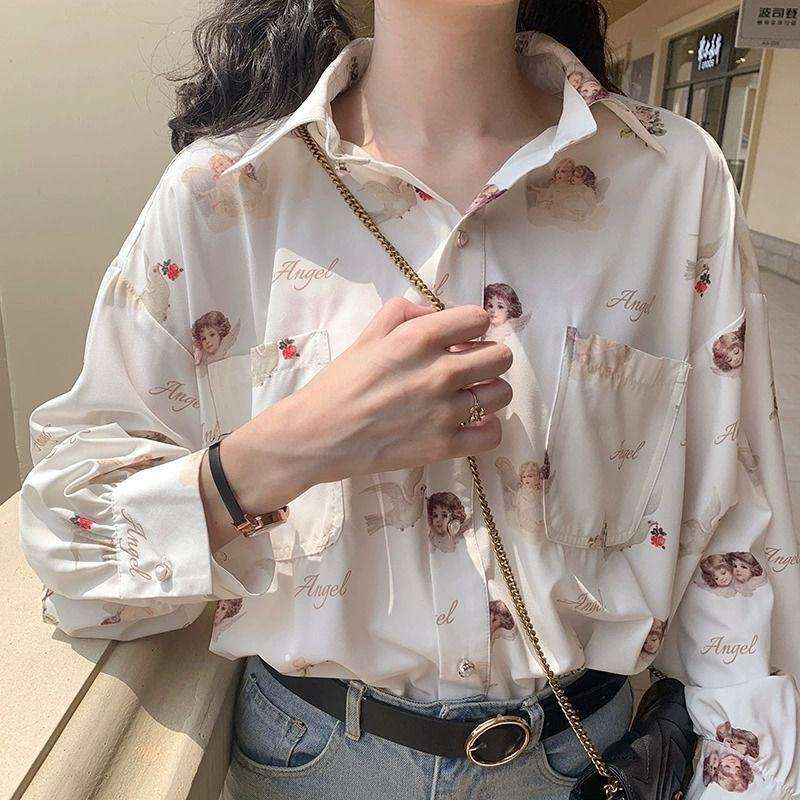 Deepown Harajuku Melek Baskı Bayan Gömlek Vintage Zarif Bluz Kadın Bahar Fener Kollu Kadın Giysileri Gevşek BF Gömlek Y200828