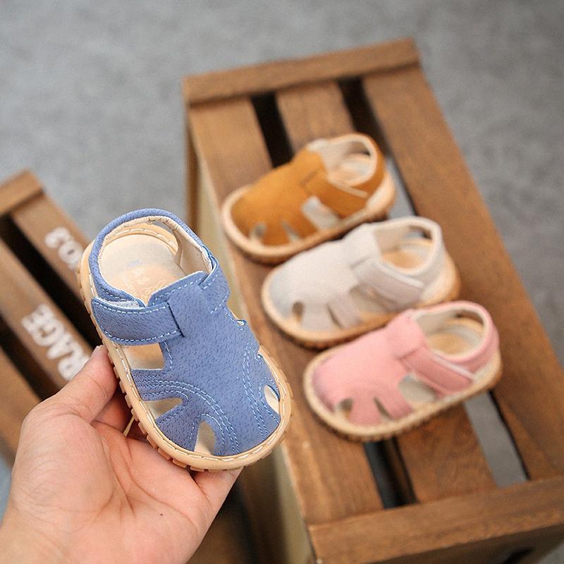 I bambini Primi camminatori 1 paio scarpe casual bambini scherza neonato chiuso le dita dei piedi estate piatto traspirante Beach Scarpe 3mKT # Slip-On