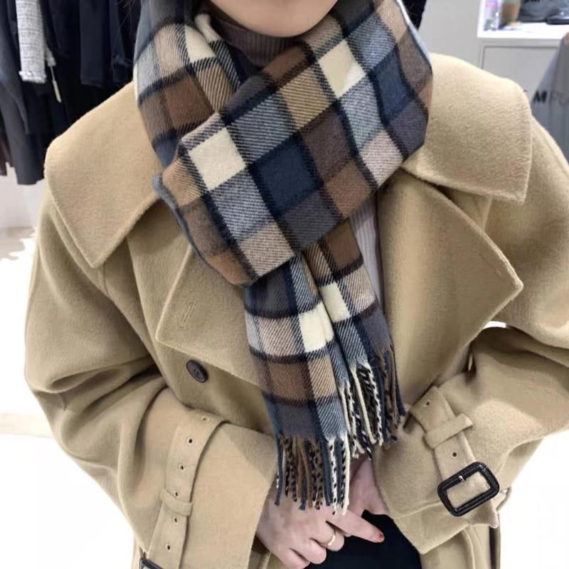 RoyalMaybe Fashion Plaid Color Color Matching Bufanda Otoño e invierno Calidez Larga Dual Uso Shaw Bufanda