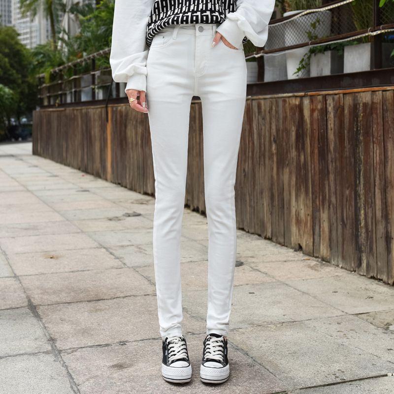 White Denim Jeans Femme coréenne style 2020 Pantalons Mode Skinny Crayon grande fille longue Pantalones De Mesclilla Para Mujer