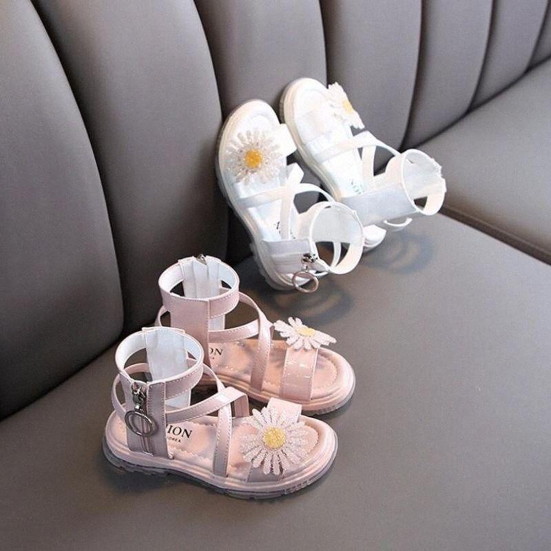 Summer Fashion Roman Boots High Top Girls Sandals Kids Gladiator Sandals Toddler Children Girls High Quality Shoes Childrens White Sho 3yZA#