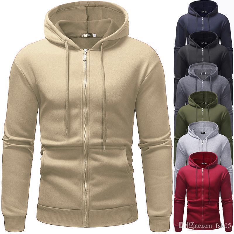 2020 Novo Zíper Hip Hop Zipper Capuz Homens Casual Sólido Hoodies Sweatshirts Masculino Streetswear Casacos Vermelho preto 3xl