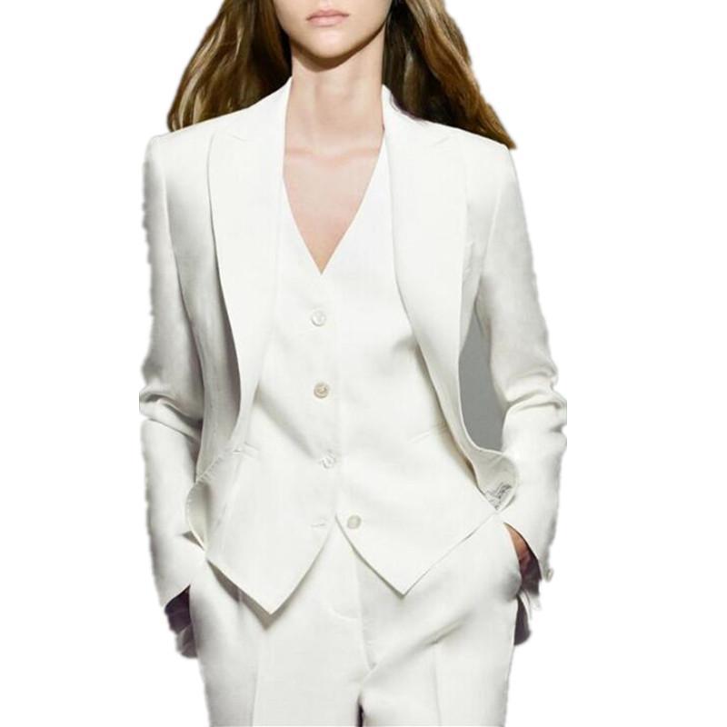 Mulheres brancas ternos 3 peças mulheres pantsuits ol feminino terno de verão blazer jaqueta calças vestido terno para mulheres conjunto