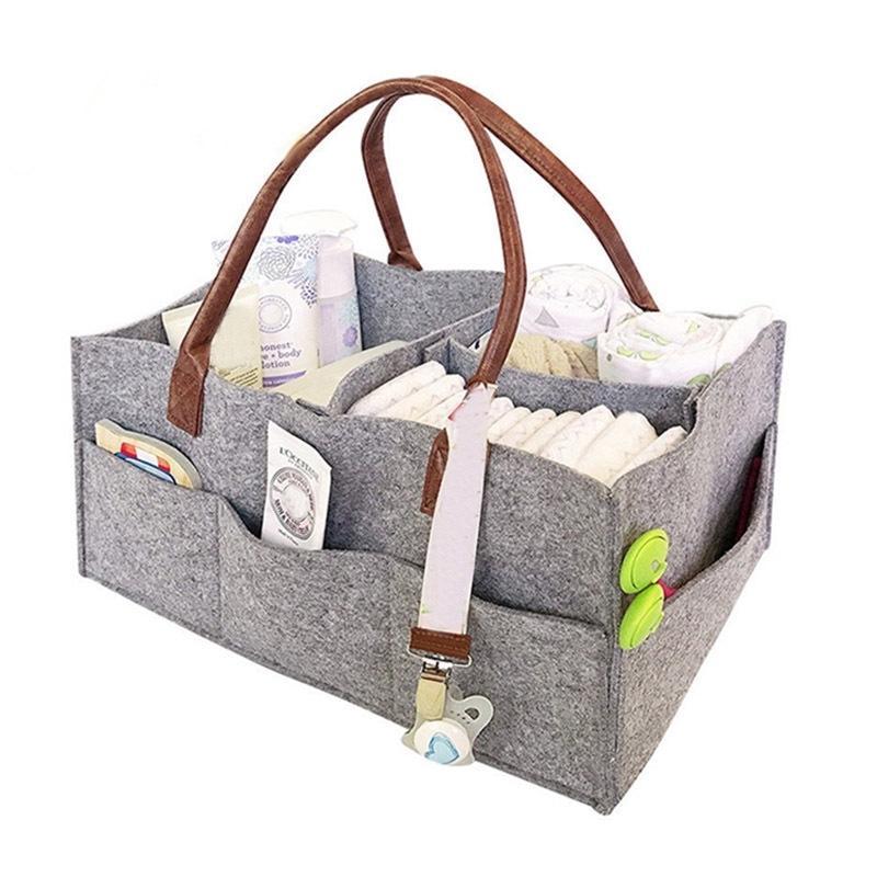 Sac de rangement en feutre pliable Pratique Baby Diaper Caddy Organisateur Multi Compartiments Sacs de voyage de voiture Panier pour pépinière Y200714