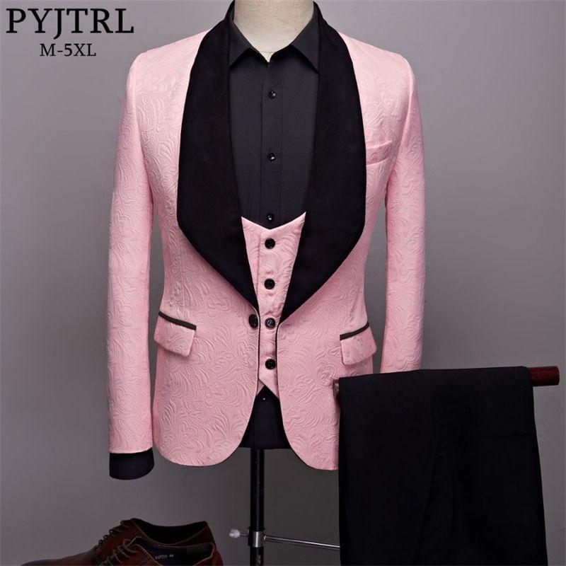 PYJTRL Erkek Moda Büyük Şal Yaka 3 adet Seti Pembe Kırmızı Mavi Siyah Beyaz Düğün Damat Suits Kalite Jakarlı Ziyafet Smokin 201106