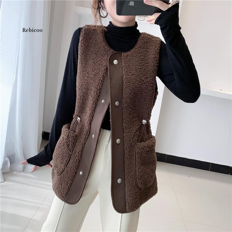 Kadın Yelek Ceket Büyük Cep Kış Pamuk Yelek Kadın Kalın Sıcak Yelek Kadın Ceket Fermuar Artı Boyutu Rahat Kolsuz Ceket