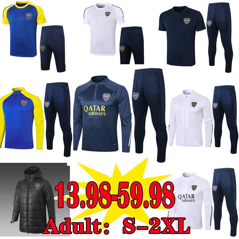 Boca Juniors Soccer Jersey Pullsuits Sets 2020 2021 Maradona Tevez Men Hommes Vestes d'hiver Vêtements rembourrés Camisetas Training Polo