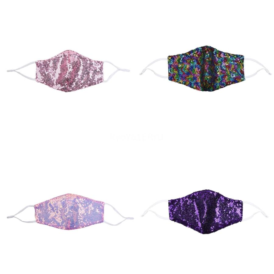 Bling Bling máscara facial 19 Colores de doble capa respirable del verano de la protección solar de las lentejuelas máscaras Ciclismo máscara máscaras lavable cara # 443