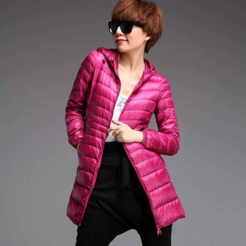 Femme's Down Parkas Hiver Ultra Light Longue Jacket Femme Femme Plume Chaud Slim Manteau Femelle Plus Taille 6xl 7xL Chaquetta Mujer