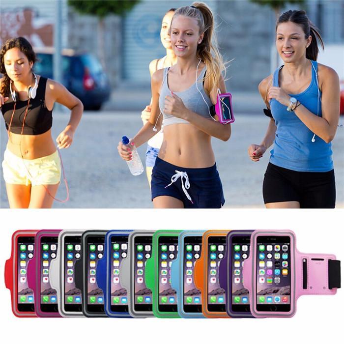 Gimnasio impermeable Deportes Corriendo brazalete Brazo Band Band Band Phone Cubierta de la caja + Tenedor de clave para iPhone12 / 6 / 6Plus para Samsung S3 / S4 / S5 / S6 Note4 Note5